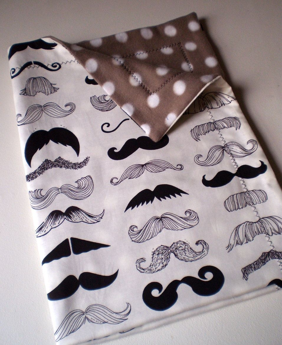 Moustache Baby Toddler Blanket for stroller or by carouselbelle, $30.00