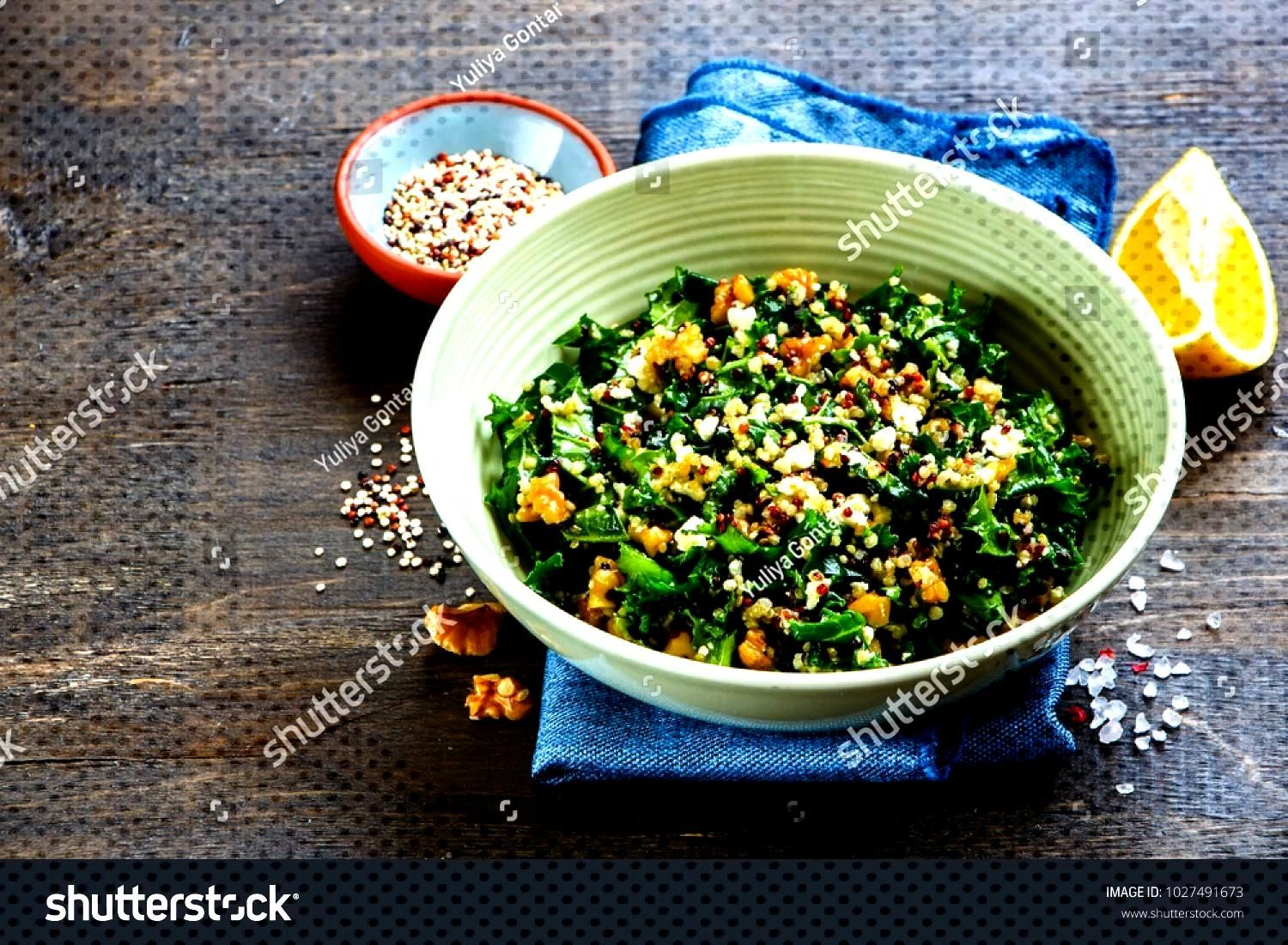 Close Healthy Detox Salad Bowl On Stock Photo (Edit Now) 1027491673-Close up of healthy detox salad