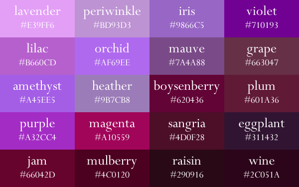 Shades Of Purple Paint Chart The Image