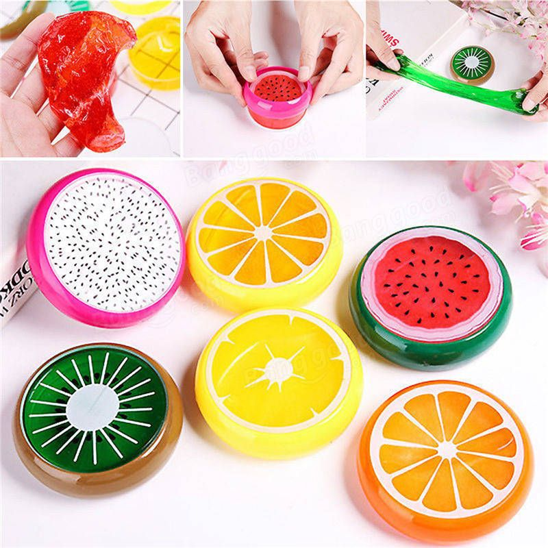 3D Fruit Slime 8 Colors DIY Crystal Jelly Clay Rubber Mud Intelligent Hand Gum P