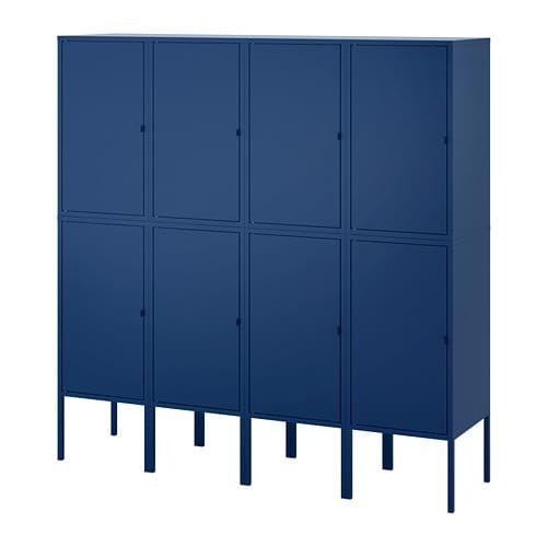 Lixhult Storage Combination Dark Blue Red 55 1 8x55 7 8 Ikea Dark Blue Rooms Metal Storage Cabinets Ikea