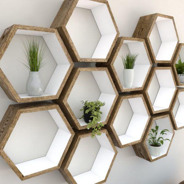 Photo of Hexagon Shelf – Dark Oak Hand Painted in Farrow & Ball