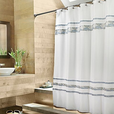Capturing The Essence Of Spa Design Elements This White Shower Curtain With A Satin Like Feel Has Horizon Fabric Shower Curtains Spa Tile Long Shower Curtains