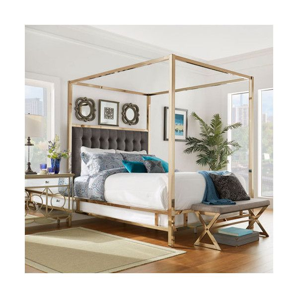 HomeHills Adora Graphite Glam Champagne Brass Canopy Bed ($1,095) ❤ liked  on Polyvore featuring. Gray FurnitureHome ...