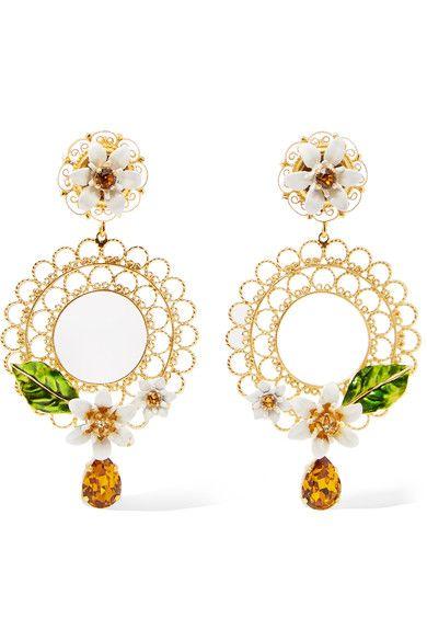 Dolce & Gabbana Dolce & Gabbana Woman Gold-tone, Swarovski Crystal And Enamel Headband Yellow Size