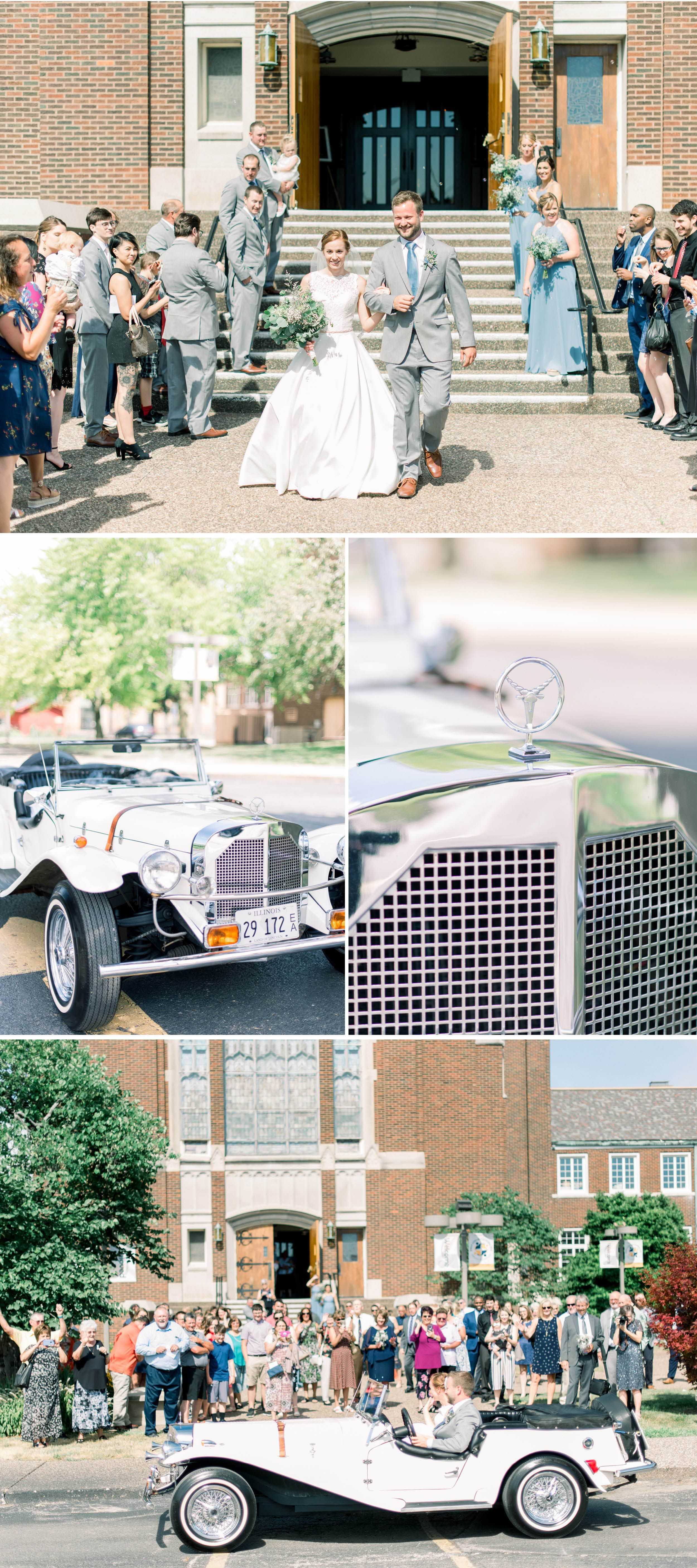 church send off with classic car Light blue and grey