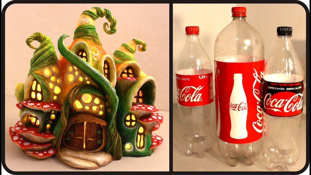 Diy enchanted fairy house lamp using coke plastic bottles for Diy plastic bottle