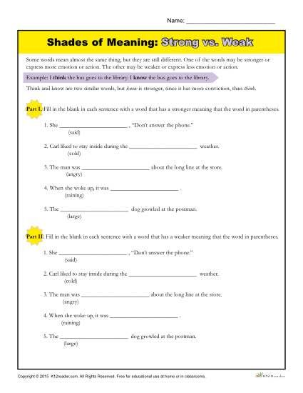 Shades of Meaning Worksheet | Figurative Language | Shades of ...