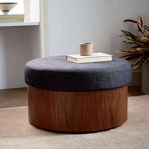 Upholstered Top Storage Ottoman Living Room Upholstered