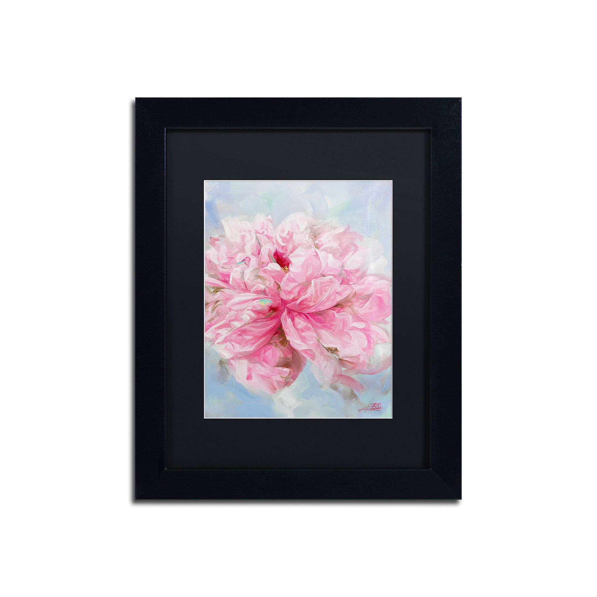 Trademark fine art pink peonie ii matted framed wall art products