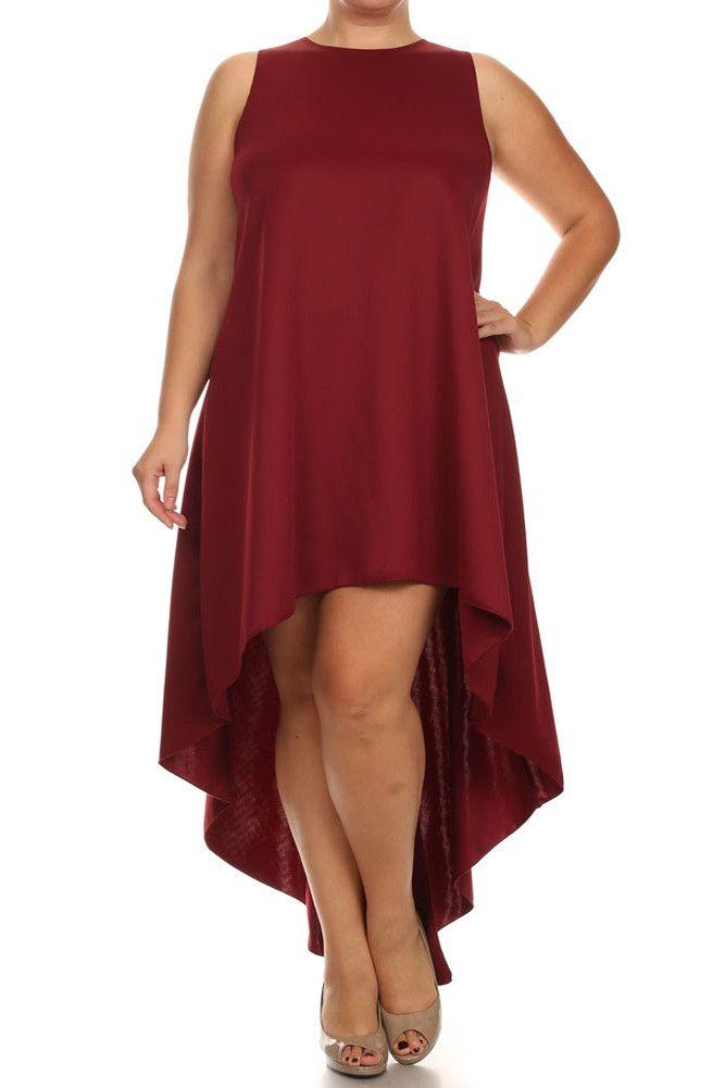 Plus Size Fashion-  Dip Hem Chic Burgundy Maxi Shirt Dress