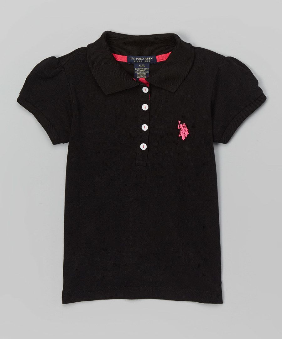 Look at this U.S. Polo Assn. Black Four-Button Polo - Girls on #zulily today!