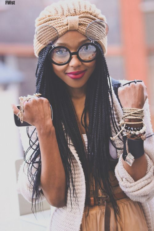 There is sooo much that is amazing going on here...hair, turban, glasses, accessories