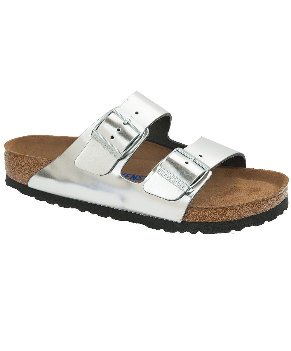 71bd6b3e7fa Birkenstock Arizona Two Strap Sandal in Metallic Silver Leather with Black  Sole. Soft Footbed Cork Footbed. Slip-On Sandal. Silver Buckles to match!