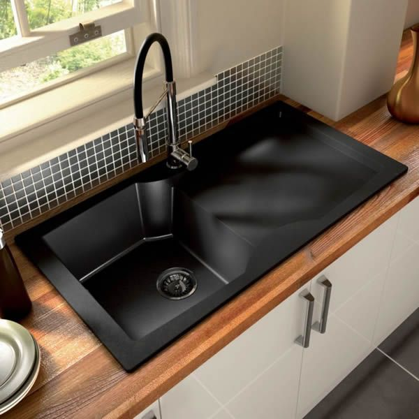 Top 15 black kitchen sink designs n e s t pinterest for Colored stainless steel sinks