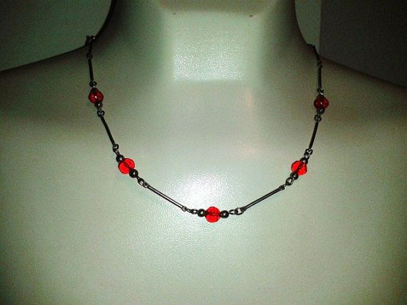 Vintage Style Metal Bar Necklace w/ Red Glass Beads by JUNQFUSION, $10.99