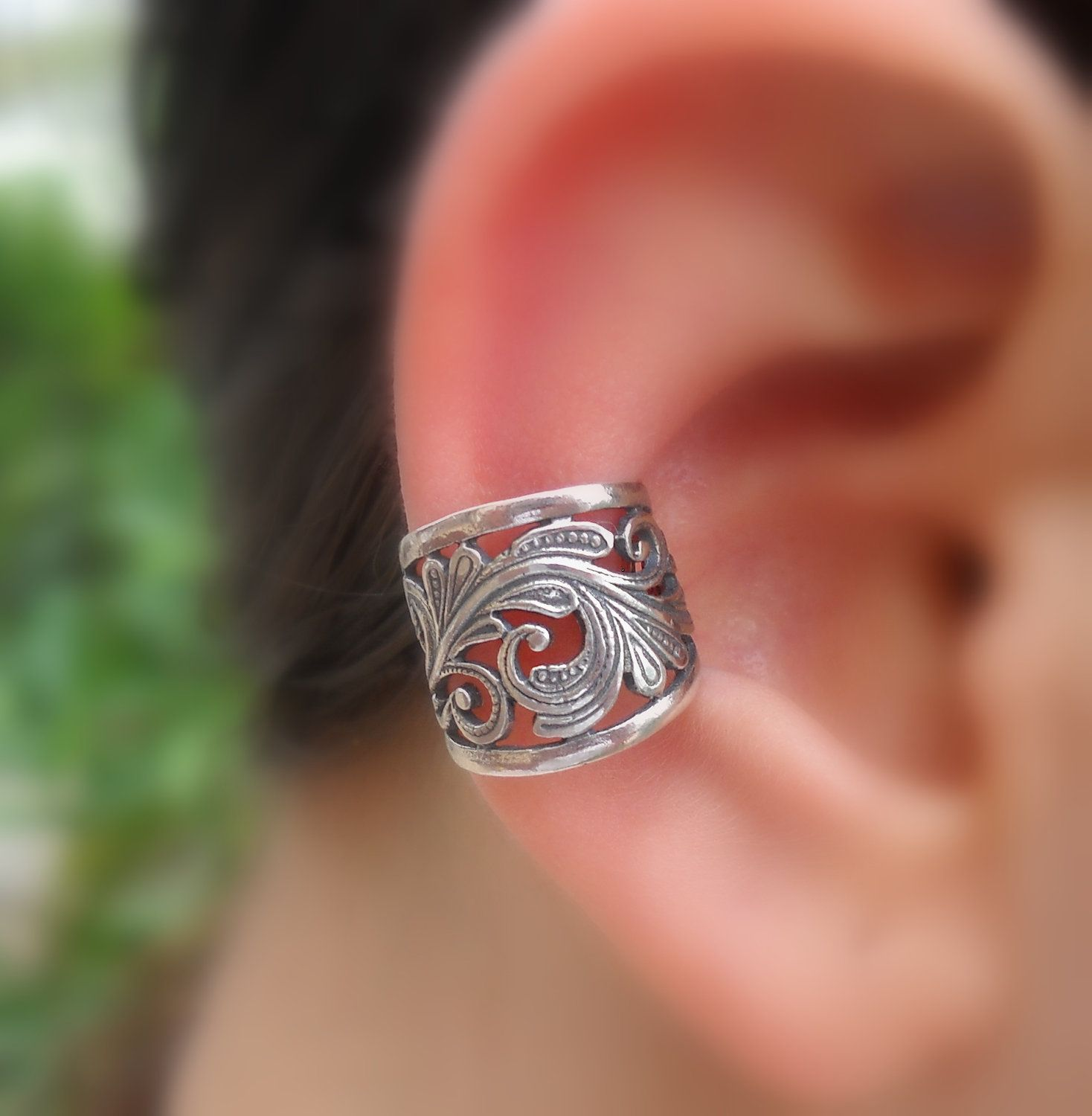 Sterling Silver Handcrafted  Textured Ear Cuff  Hoop Earring Cartilage/catchless/helix. $17.95, via Etsy.