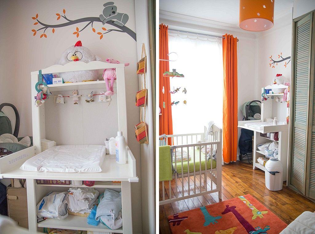 chambre bébé blanc orange vert coin table à langer | Chambre bébé ...