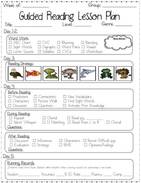 Guided Reading Lesson Plan Templates  School Ideas