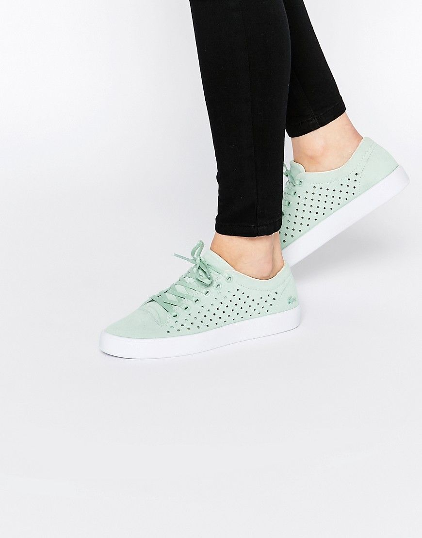 1ce3e1cf4 Image 1 of Lacoste Tamora Lace Up 216 Pale Green Suede Sneakers ...