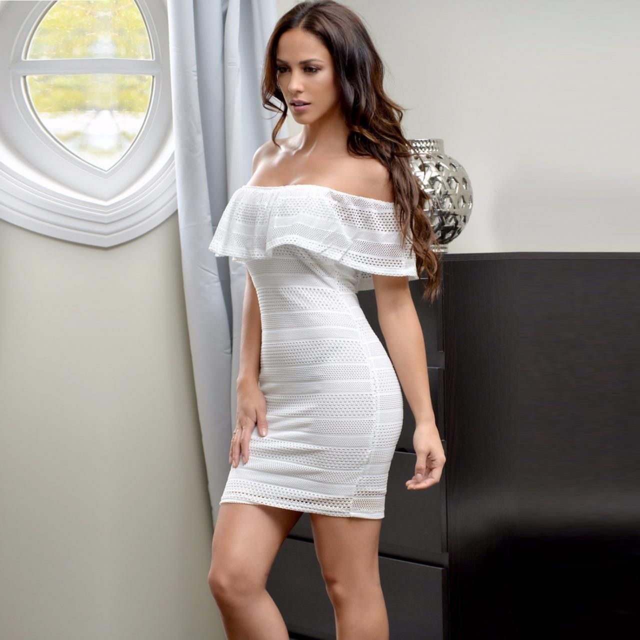 Pure color off shoulder bodycon short dress fashion dresses
