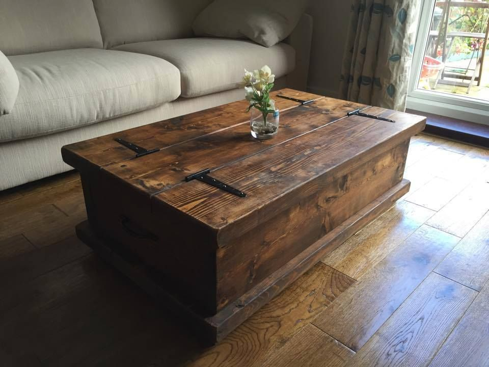 Chunky Rustic Coffee Table Chest Solid Wood Dark Oak Stain