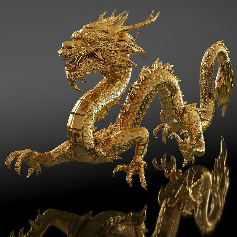 Golden Chinese Dragon Rigged for Cinama 4D 3D model in