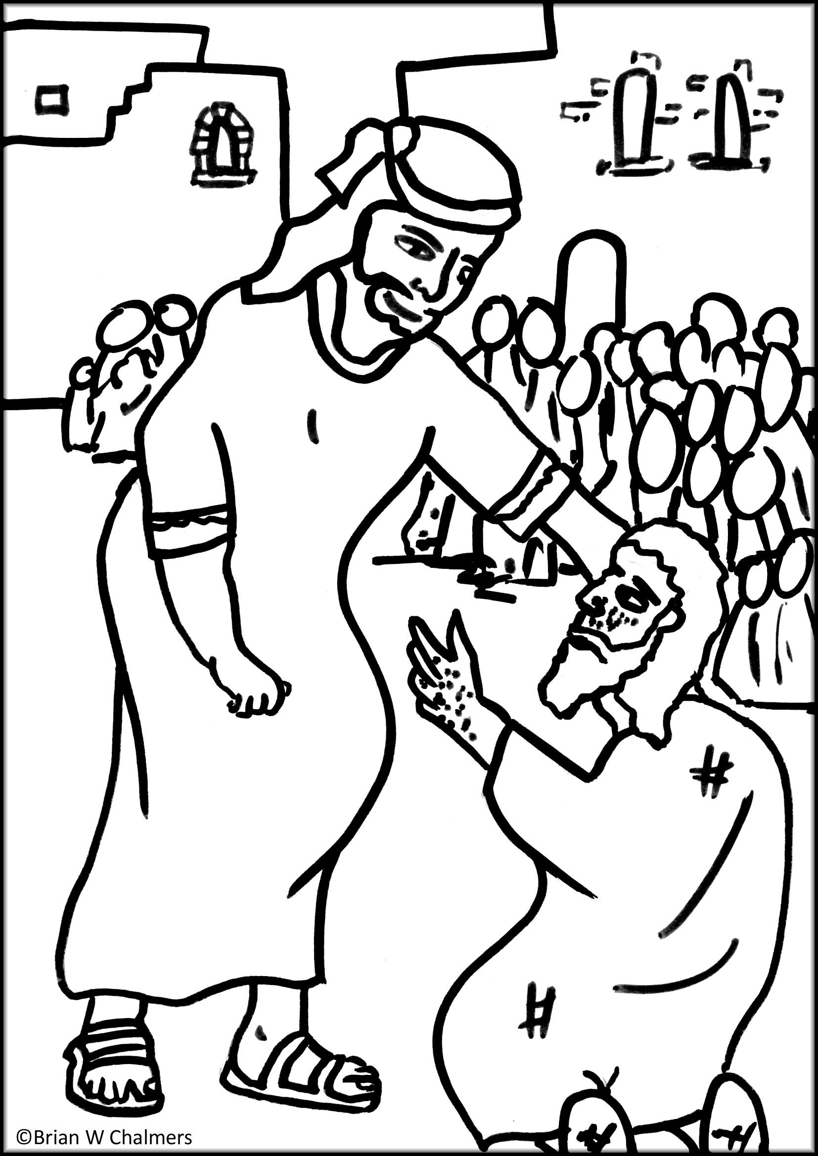 coloring pages healings of jesus | Jesus heals the 10 lepers - Coloring Page - SundaySchoolist