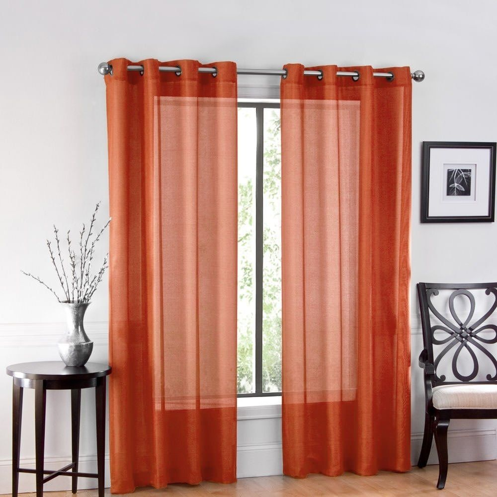 One Luxurious Sheer Grommet Curtain Panel 54 X 84 Spice Brown
