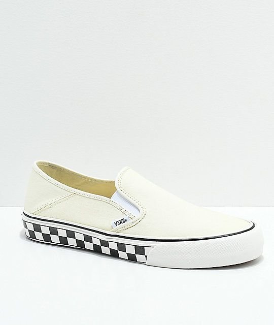 Vans Slip-On SF Classic White & Checkerboard Canvas Skate Shoes | Skate  shoes, Classic white and Vans