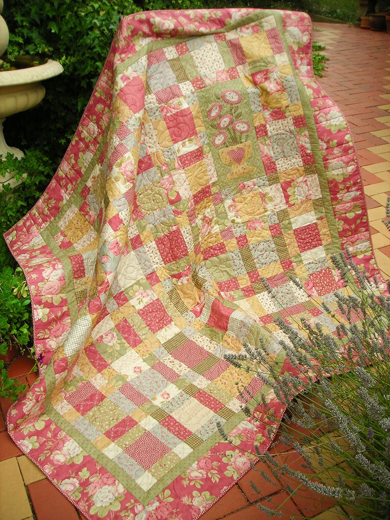 "Miss Appleton's Garden Finished quilt size 73"" x 73"
