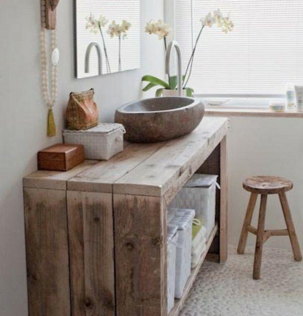 meuble salle de bain en bois naturel