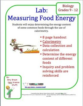 measuring energy from food essay Take samples of a range of foodstuffs and set them alight in turn burn food  samples under a boiling tube containing a measured amount of water measure  the.