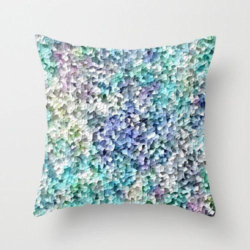 Geometric Throw Pillow Cover Home Decor Mosaic Print In Blue Aqua Teal  Yellow Purple Modern Decor