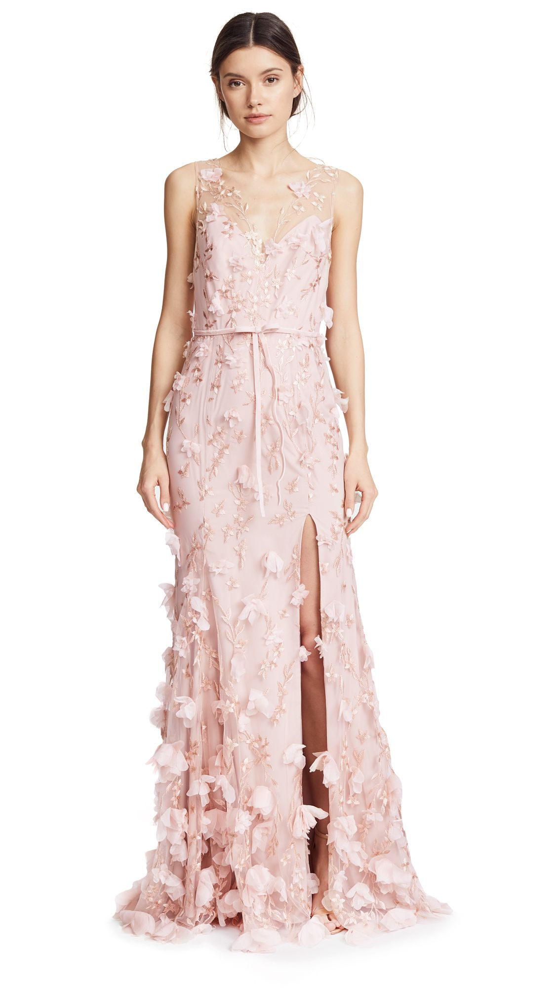 63e945abc5 MARCHESA NOTTE EMBROIDERED GOWN WITH 3D FLOWERS. #marchesanotte #cloth #