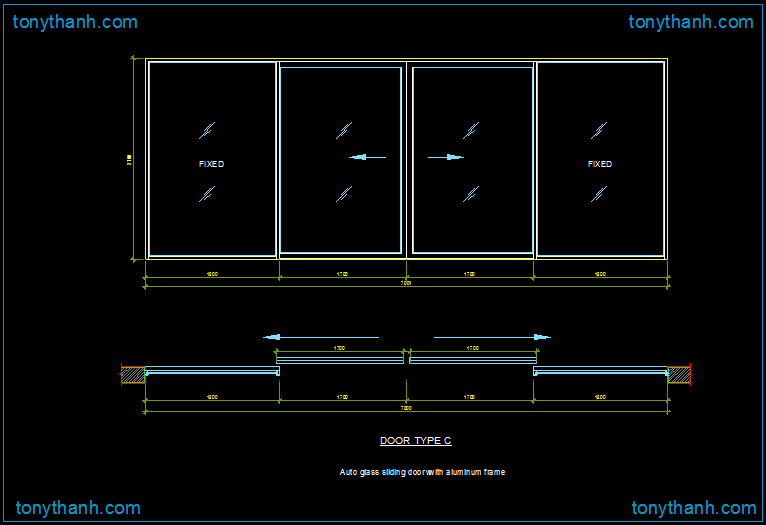 Sliding door autocad block glass sliding door with for Sliding glass doors drawing