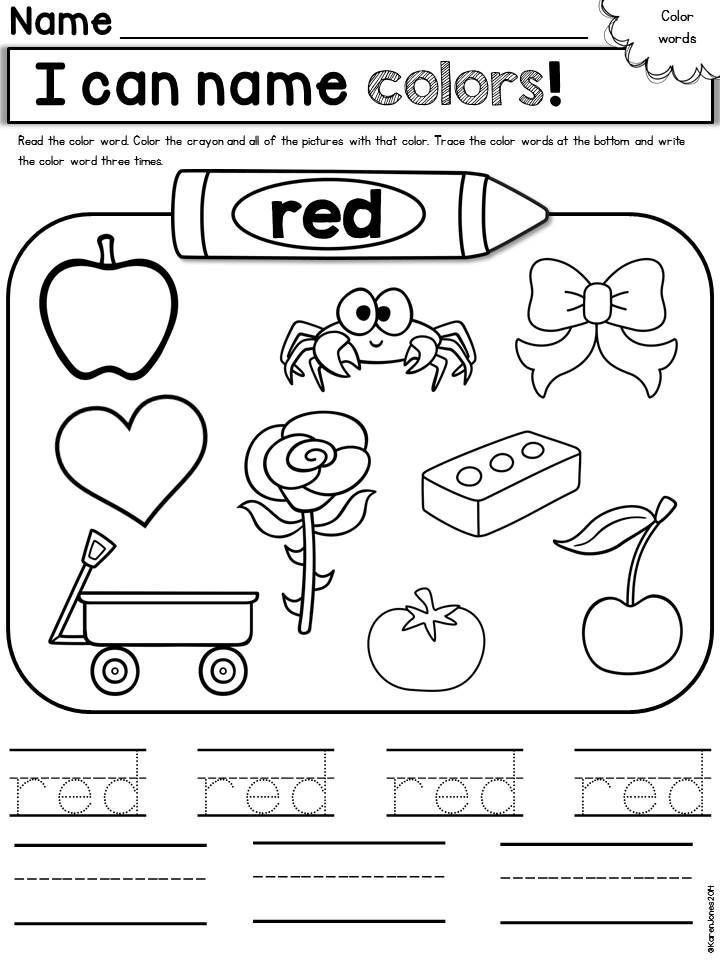 Free printable color red worksheets murderthestout Coloring book for kinder