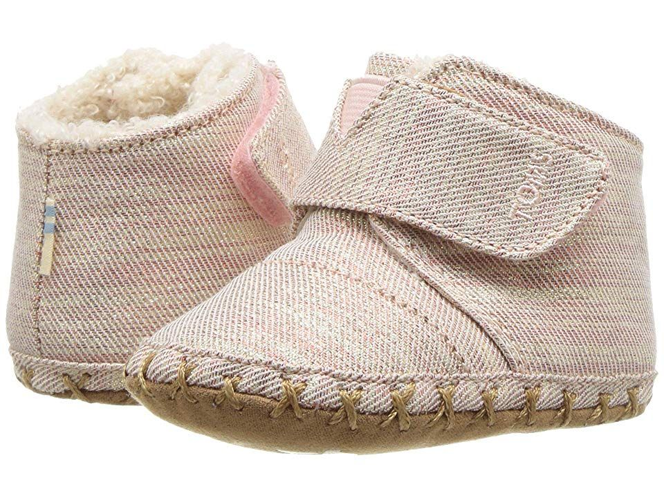 TOMS Kids Cuna InfantToddler Rose Cloud Twill Glimmer Girls Shoes With every pair of shoes you purchase TOMS will give a new pair of shoes to a child in need One for One...