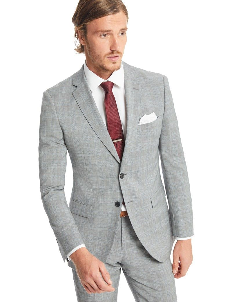 4da4229e7853 Men's Grey & Light Blue Prince Of Wales Check Classic Fit Suit - Super 120s  Wool