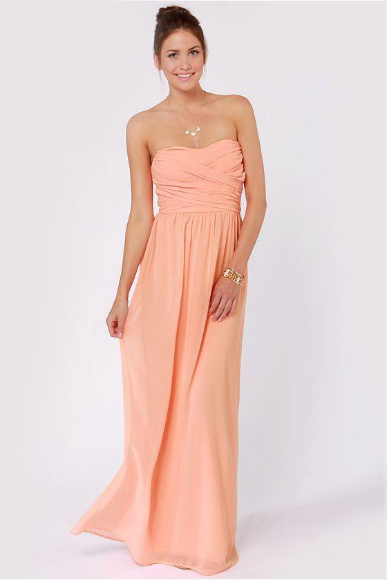 Exclusive Slow Dance Strapless Peach Maxi Dress