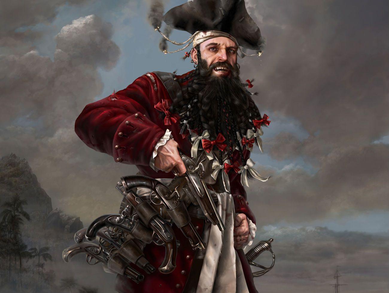 Blackbeard Famous Pirate Painting