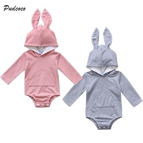 8966f28f94a Lovely Newborn Infant Baby Boy Girl Bunny Ear Long Sleeve Cotton Hooded  Romper Toddler Kids Jumpsuit Playsuit Clothes 0-24M
