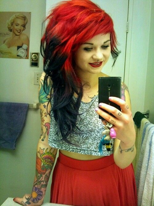 3 Red To Black Scene Hair Hair Styles Blue Hair Tumblr