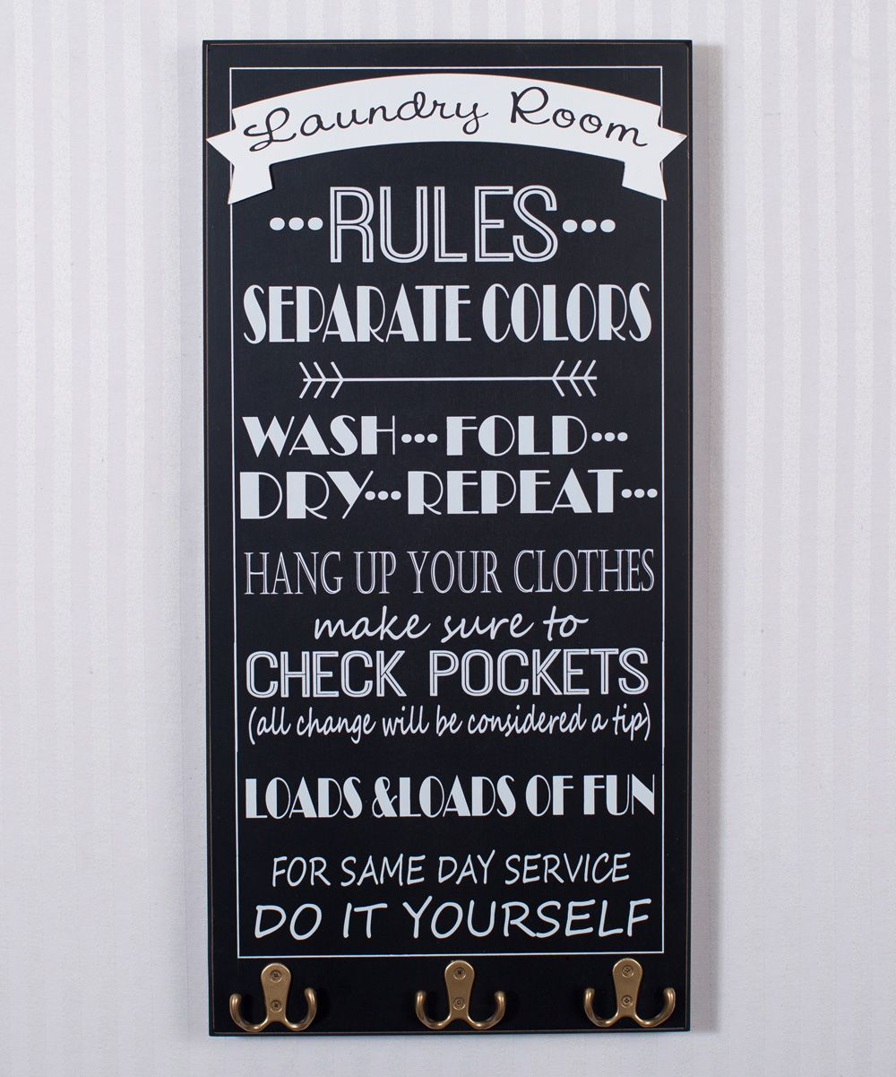 Laundry Sign With Hooks Black 'laundry Room Rules' Wall Hook Sign  Laundry Rooms Laundry