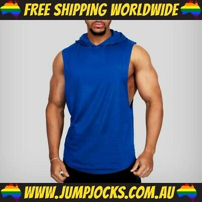 Blue Sleeveless Hoodie - Fitness Gym T-Shirt Vest FREE WORLDWIDE SHIPPING #fashion #clothing #shoes #accessories #men #mensclothing (ebay link)