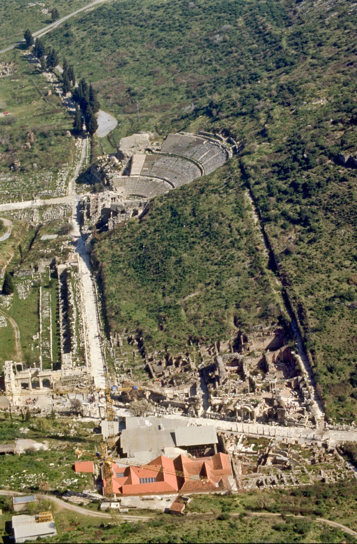 Ephesus excavations and Great Theater aerial, Turkey.