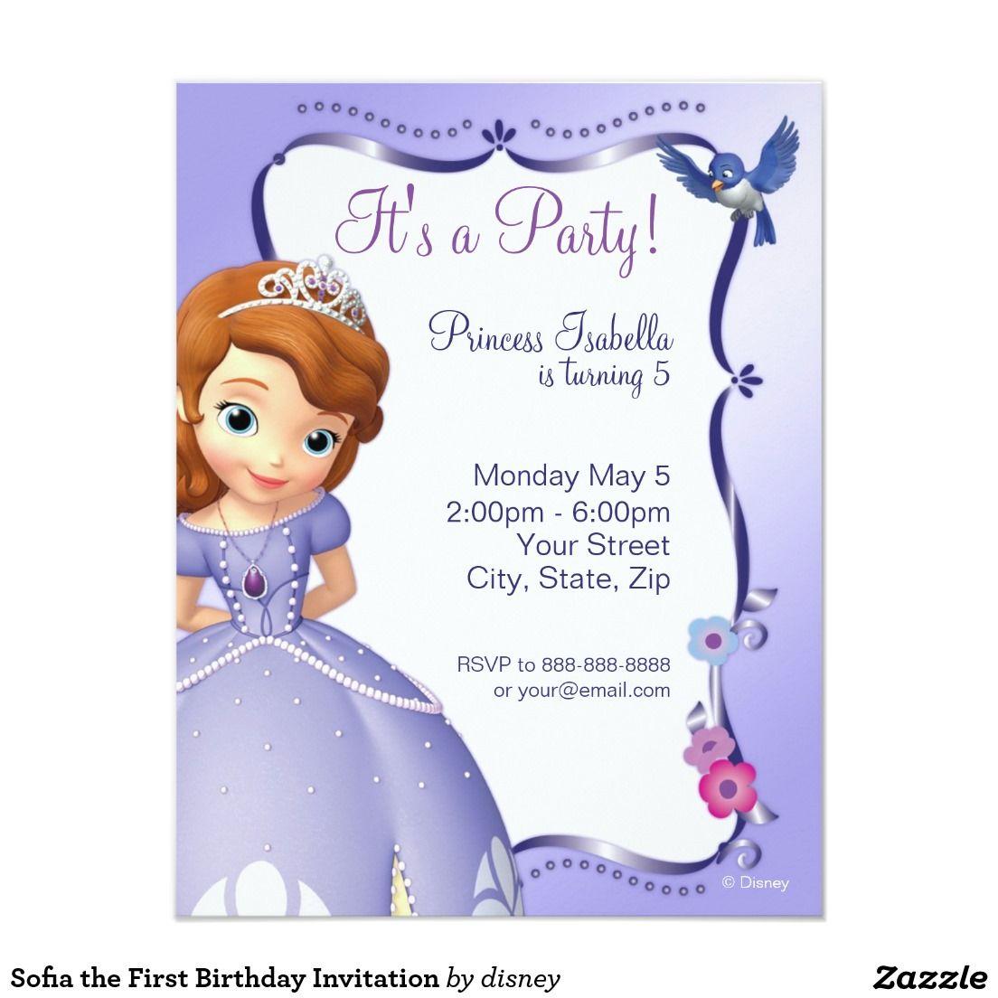 Sofia The First Birthday Invitation Zazzle Com First Birthday Invitations Sofia The First Birthday Party Birthday Invitations