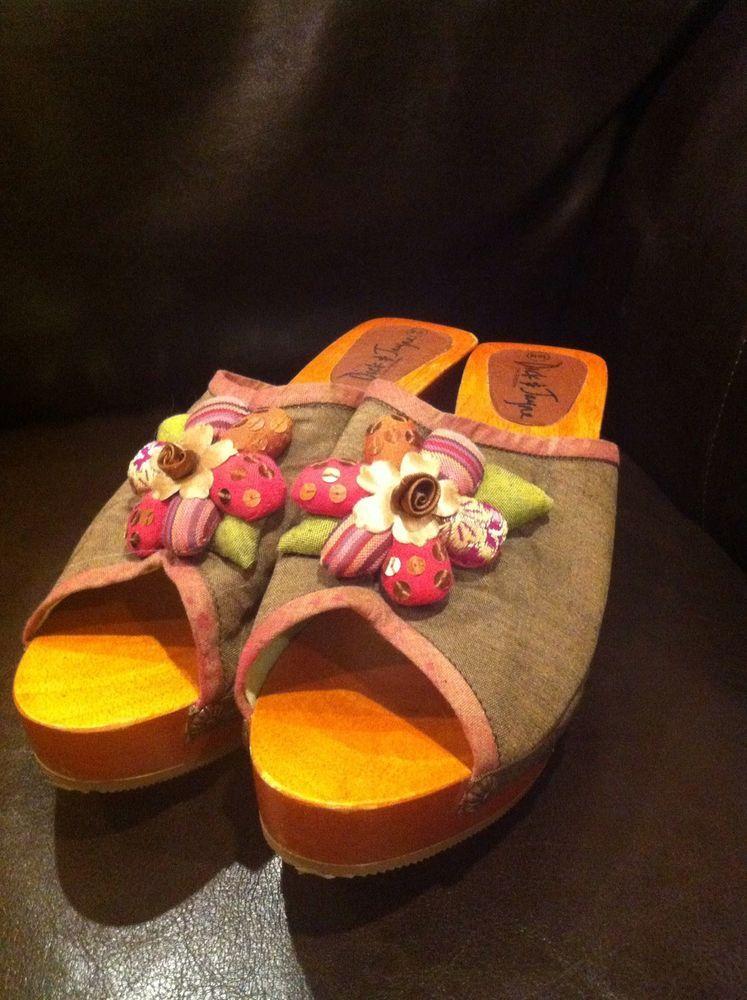 ARTSY SHOES Dick & Jayne 10 M Euc Wooden Silk Mule Clog Shoes Artsy Stuffed  Flower
