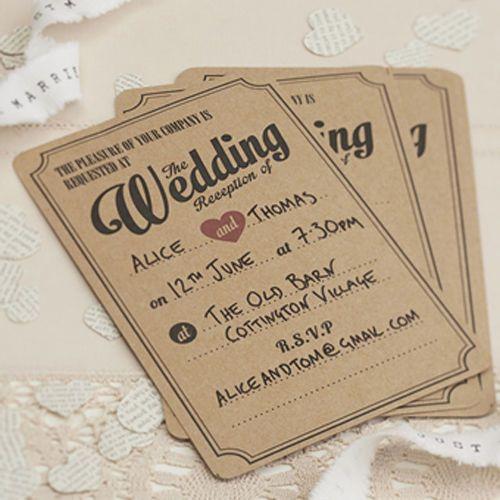 10 Vintage Affair Wedding Reception Invitations Ginger Ray Brown
