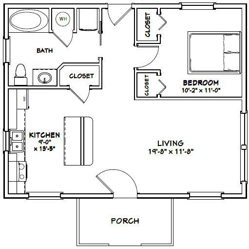 30x24 House 30X24H3B 720 sq ft Excellent Floor Plans – Boat House Floor Plans